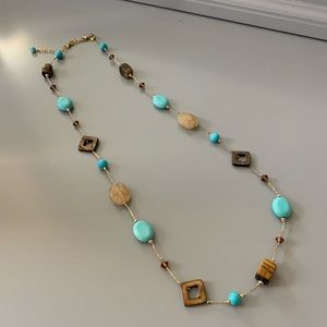 Turquoise and Brown Boho Nevklace